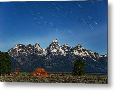 Teton Star Trails Metal Print by Darren  White