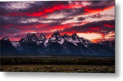 Teton Sunset Metal Print by Darren White