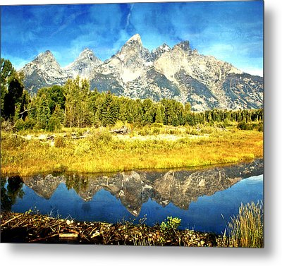 Tetons At The Landing Metal Print by Marty Koch