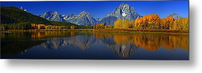 Tetons From Oxbow Bend Metal Print by Raymond Salani III