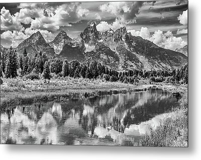 Tetons In Black And White Metal Print by Mary Hone