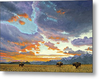 Tetons-looking South At Sunset Metal Print by Paul Krapf