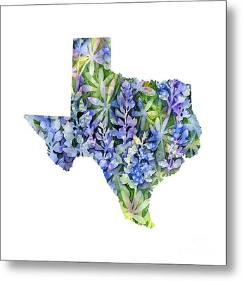 Texas Blue Texas Map On White Metal Print
