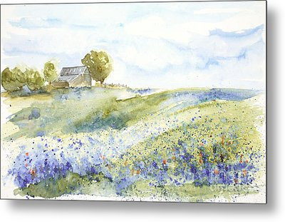 Metal Print featuring the painting Texas Bluebonnets by Sandra Strohschein