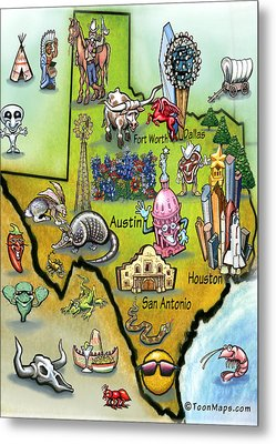 Texas Cartoon Map Metal Print by Kevin Middleton