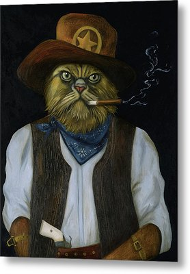 Metal Print featuring the painting Texas Cat With An Attitude by Leah Saulnier The Painting Maniac