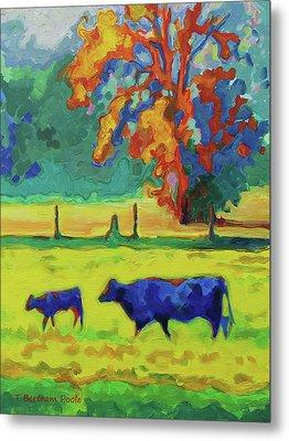 Texas Cow And Calf At Sunset Print Bertram Poole Metal Print by Thomas Bertram POOLE