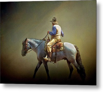 Metal Print featuring the photograph Texas Cowboy And His Horse by David and Carol Kelly