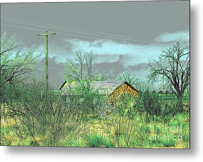 Metal Print featuring the photograph Texas Farm House - Digital Painting by Merton Allen