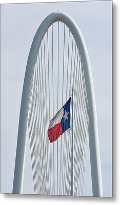 Texas Flag At Margaret Hunt Hill Bridge Metal Print by Tod and Cynthia Grubbs