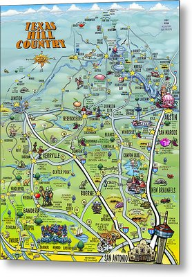 Texas Hill Country Cartoon Map Metal Print
