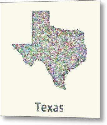 Texas Line Art Map Metal Print