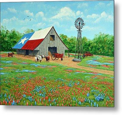 Texas Ranch Barn Metal Print by Jimmie Bartlett
