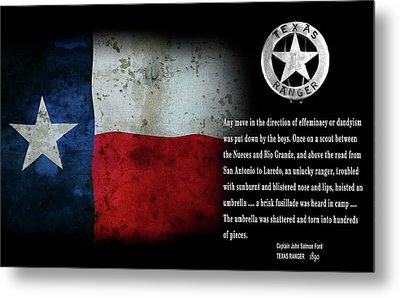Texas Rangers Quote On Effeminacy And Dandyism  1890 Metal Print by Daniel Hagerman
