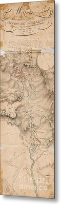 Texas Revolution Santa Anna 1835 Map For The Battle Of San Jacinto  Metal Print