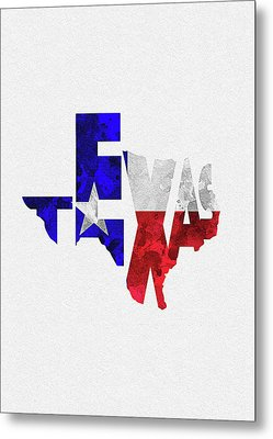 Texas Typographic Map Flag Metal Print
