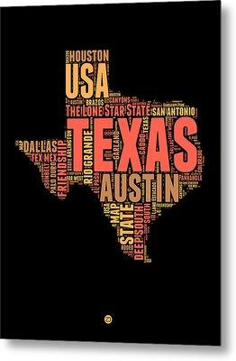 Texas Word Cloud 1 Metal Print by Naxart Studio
