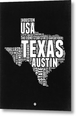 Texas Word Cloud Black And White Map Metal Print by Naxart Studio