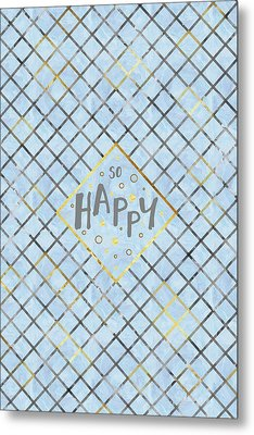 Text Art So Happy - Blue Metal Print