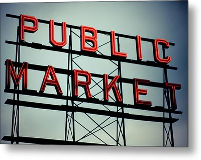 Text Public Market In Red Light Metal Print by © Reny Preussker