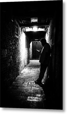 Texting - Venice, Italy - Black And White Street Photography Metal Print