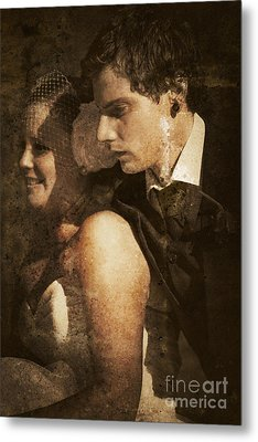 Textured And Faded Vintage Wedding Photograph  Metal Print