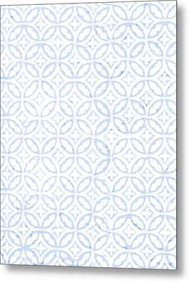 Textured Blue Diamond And Oval Pattern Metal Print