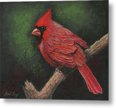 Textured Cardinal Metal Print by Janet King