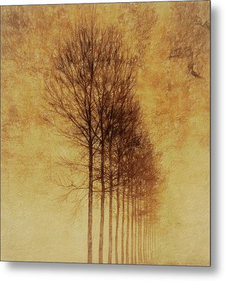Metal Print featuring the mixed media Textured Eerie Trees by Dan Sproul