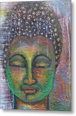 Textured Green Buddha Metal Print by Prerna Poojara