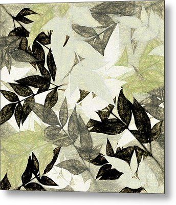 Metal Print featuring the digital art Textured Leaves Abstract By Kaye Menner by Kaye Menner