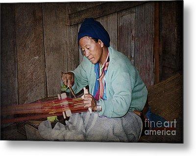 Thai Weaving Tradition Metal Print by Heiko Koehrer-Wagner