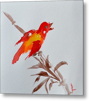 Thank You Bird Metal Print by Beverley Harper Tinsley