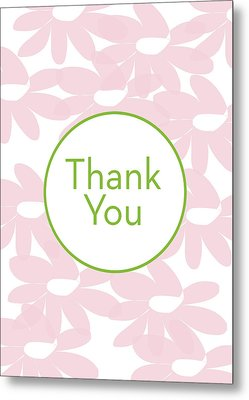 Thank You Card Pink Flowers- Art By Linda Woods Metal Print
