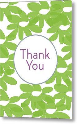 Thank You Green Flowers- Art By Linda Woods Metal Print by Linda Woods