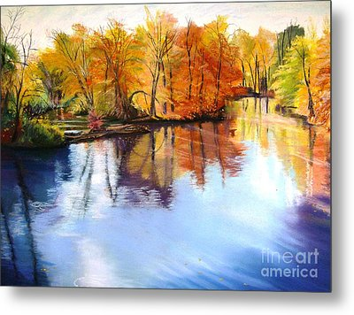 Thanksgiving Day II     Reflections On Blue Metal Print by Lucinda  Hansen