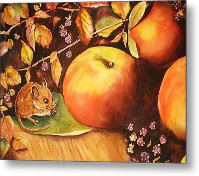 Thanksgiving Mouse Guest Metal Print by Patricia Pushaw