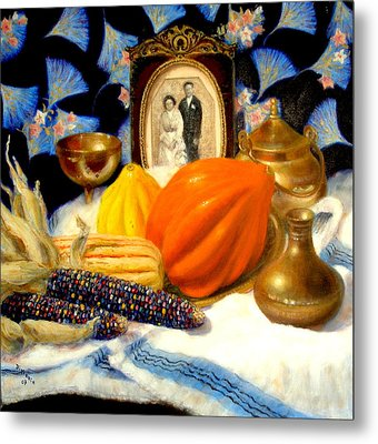 Metal Print featuring the painting Thanksgiving Of The Past by Donelli  DiMaria