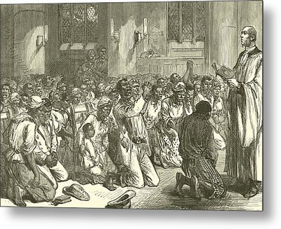 Thanksgiving Service At Midnight For The Emancipation Of The Slaves Metal Print