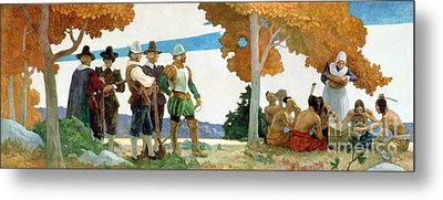Thanksgiving With Indians Metal Print by Newell Convers Wyeth