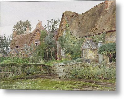 Thatched Cottages And Cottage Gardens Metal Print by John Fulleylove