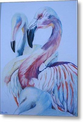 The 3 Flamingos Metal Print