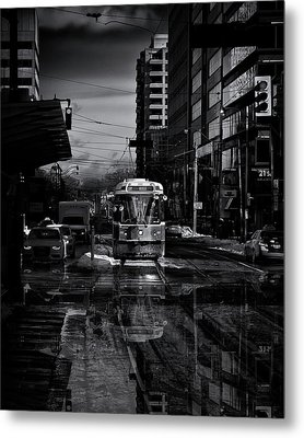 The 512 St. Clair Streetcar Toronto Canada Reflection Metal Print by Brian Carson