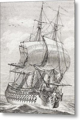 The 58 Gun Frigate Of The French Navy Metal Print by Vintage Design Pics