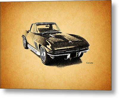The 66 Vette Metal Print by Mark Rogan