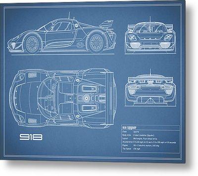 The 918 Spyder Blueprint Metal Print by Mark Rogan