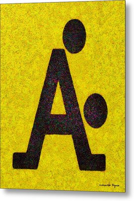 The A With Style Yellow - Da Metal Print