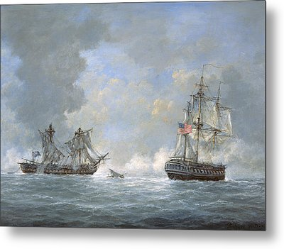The Action Between Us Frigate United States And The British Frigate Macedonian Metal Print by Richard Willis