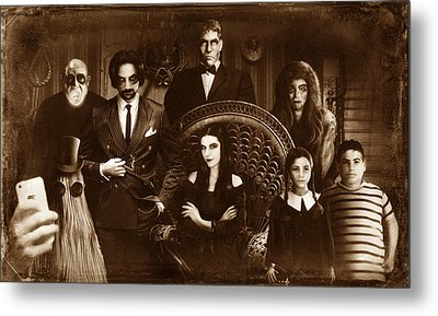 The Addams Family Sepia Version Metal Print