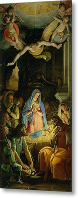 The Adoration Of The Shepherds Metal Print by Federico Zuccaro